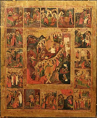 11. Resurrection with 16 Feasts. 19th century.