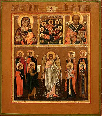 18. Four part icon. Begin of 19th century.