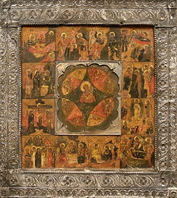 58.The Holy Virgin of the Burning Bush with Scenes from Her Life. Basma silver. Begin of 19th century.